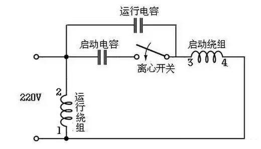 电容启动运转型接线电路(双值电容器)