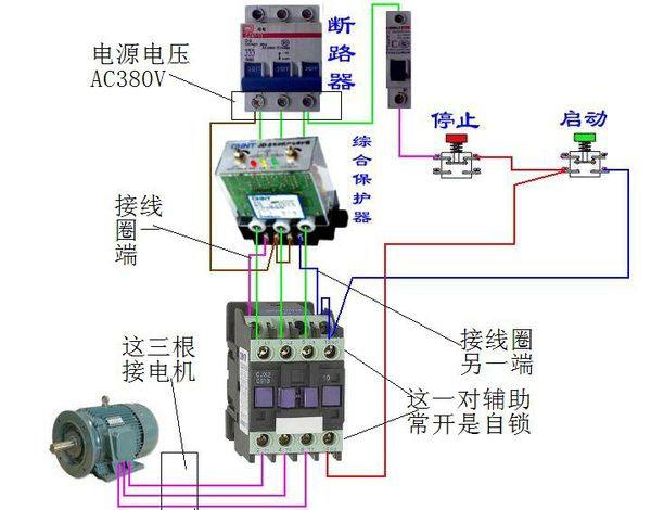 今天大兰电机厂家告诉大家三相油泵电机的保护器是如何接线的。 三相油泵电机保护器由三相电流互感器、检测、放大、延时、调整电路和执行继电器组成。检测电路检测到电流互感器感应的电流缺相或大于设定值时,经放大器放大,使继电器动作。继电器触头串接于接触器线圈供电回路中,继电器动作后使接触器断电,起到保护电机作用。延时电路用于避开电机起动电流,其时长可调。调整电路用于根据被保护电机工作电流精确设置动作电流。  abc三相接到保护器相应端子,电机控制回路中串入保护器的常闭触点。  编辑:大兰油泵电机02-采购顾问 版权